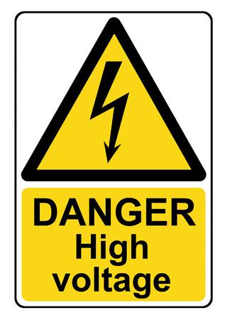 Danger haute tension panneau d'avertissement jaune Banque d'images