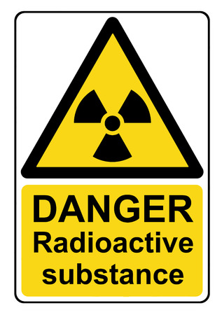 radioactive: Danger radioactive substance yellow warning sign Stock Photo