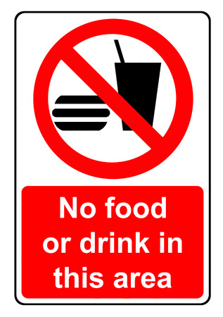 no food: No food or drink in this area sign Stock Photo