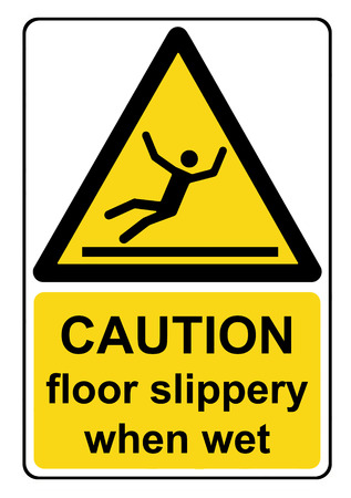 Caution floor slippery when wet yellow warning sign Stock Photo