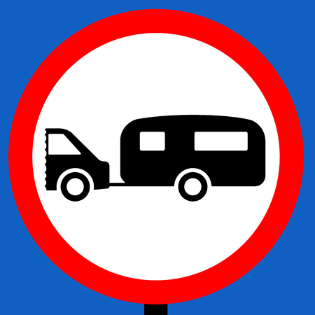 towed: No towed caravans traffic sign