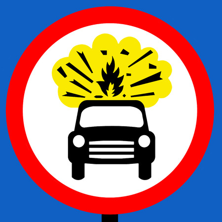 obligatory: No vehicles carrying explosives traffic sign Stock Photo