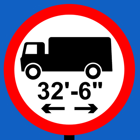 shown: No vehicle or combination of vehicles over length shown traffic sign Stock Photo