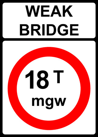 tonnes: No vehicles over maximum gross weight shown in tonnes traffic sign Stock Photo