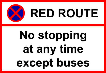 period: No stopping during period indicated except for buses sign