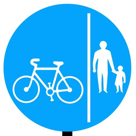 Segregated pedal cycle and pedestrian route sign Stock Photo