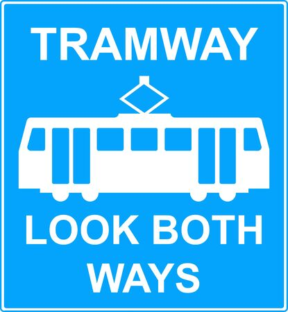 symbol vigilance: Pedestrian crossing point over tramway sign