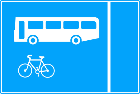 symbol vigilance: With-flow bus and cycle lane traffic sign Stock Photo