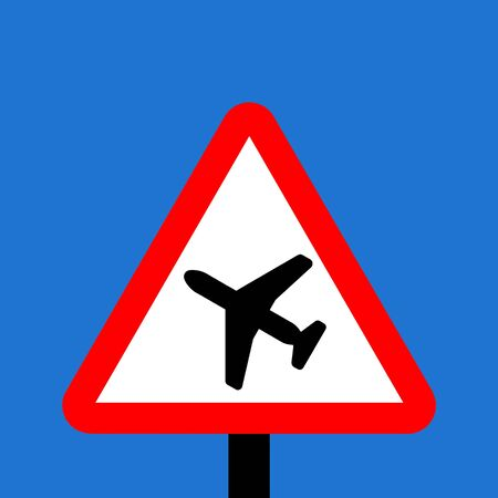 sudden: Warning triangle Low flying aircraft or sudden aircraft noise sign Stock Photo