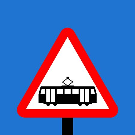 symbol vigilance: Warning triangle Trams crossing ahead sign