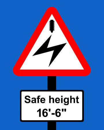 vigilance: Warning triangle Overhead electric cable plate indicates maximum height of vehicles which can pass safely