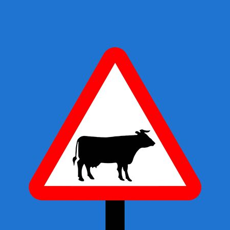 symbol vigilance: Warning triangle Cattle sign Stock Photo