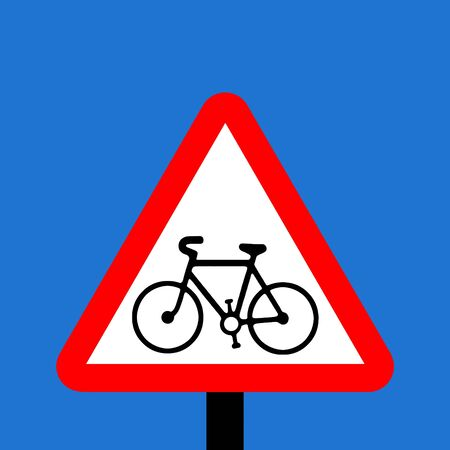 vigilance: Warning triangle Cycle route ahead sign