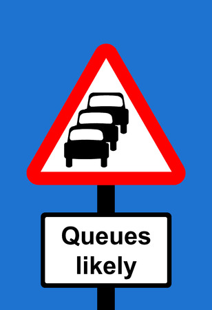 likely: Warning triangle Traffic queues likely ahead sign