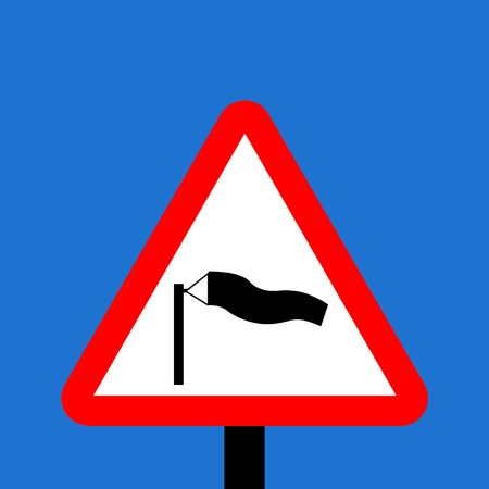 symbol vigilance: Warning triangle Side winds traffic sign Stock Photo