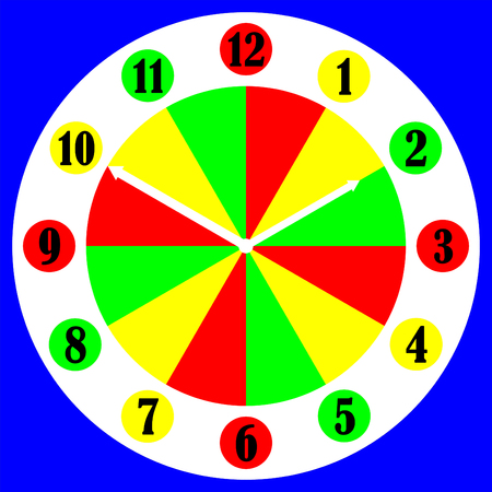 6 12: Colourful childs numerical clock face