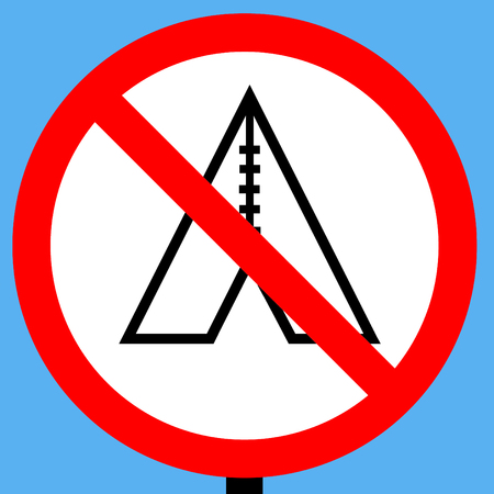 symbol vigilance: No camping sign Stock Photo