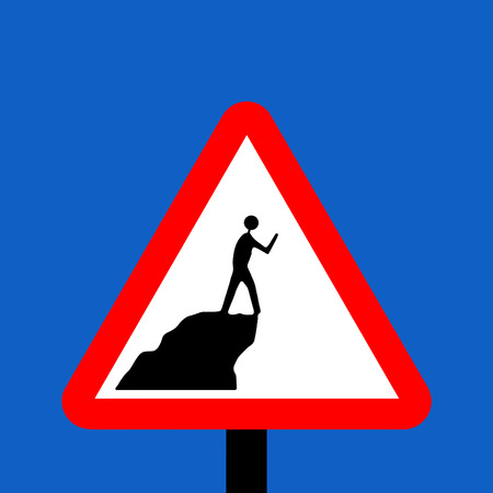 symbol vigilance: Warning triangle do not walk near ledges while using cameras or video cameras sign