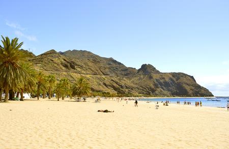 playa: Tourists on the beach enjoying the sun Stock Photo