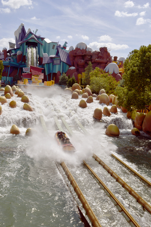 Dudley Do-Right?s Ripsaw Falls in the Toon Lagoon area of Universals Island of Adventure