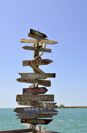 Direction, distance, position and indication sign Stock Photo