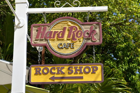 Key West Florida Keys Florida USA - May 15 2017 : Hard Rock Cafe sign in Key West