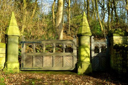 Park Bridge; Ashton-under-Lyne; Tameside; Greater Manchester; England; Europe  - December 29 2013 : Medieval manor of Ashton entrance