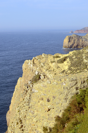 Cape St. Vincent cliffs on the Algarve coast of Portugal Stock Photo