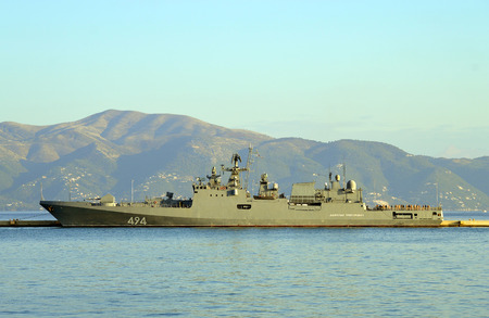 EU Naval Force flagship, FS Siroco in Corfu harbour Editorial