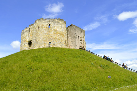 York, Yorkshire, England, UK - May 22, 2016 : The historical York Castle in the city of York commonly referred to as Cliffords Tower