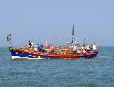 Mary Ann Hepworth tourist cruise ship Whitbys old lifeboat in the North sea