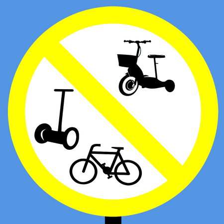 No cycles scooters and segways sign in a pedestrian zone