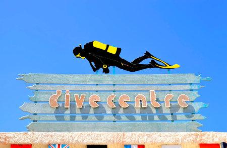 Dive centre sign in Corralejo harbour