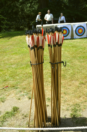 A box of arrows used for sport and hunting