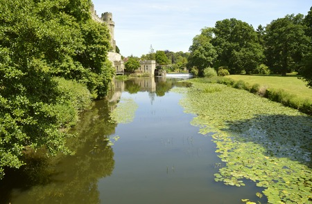 The tranquil River Avon flowing past Warwick Castle Editorial