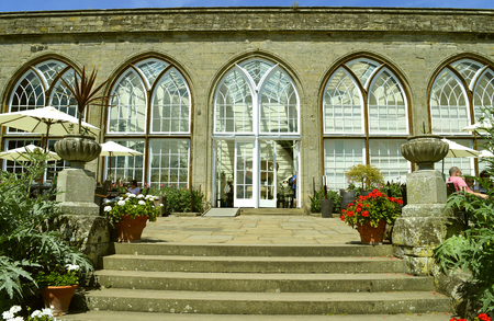The historical medieval Warwick Castle conservatory in Warwickshire Editorial