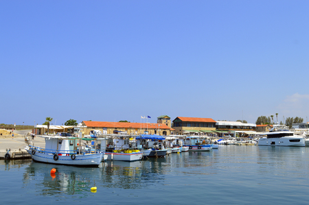 Tourist boats in Paphos harbour a tourist resort in Cyprus