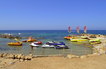 Boats for hire on Paphos Beach a tourist resort in Cyprus