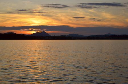 Sunset over Corfu town a Greek Island in the Ionian sea