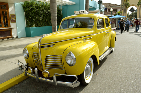 Plymouth 1940 taxi on show in the theme park