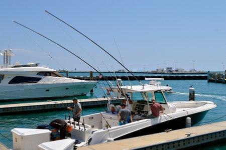 Key West, Florida Keys, Florida, USA - May 15, 2017 : Fishing boat in Key West marina