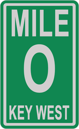Mile 0 sign on the Florida scenic highway 1 写真素材