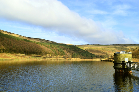 Yeoman Hey Reservoir above the village of Greenfield, on Saddleworth Moor in Greater Manchester Stock Photo