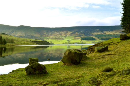 Dovestone Reservoir lies above the village of Greenfield, on Saddleworth Moor in Greater Manchester Stock Photo