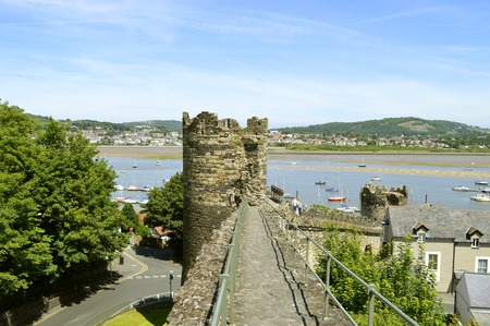A view of Conwy estuary from the historical medieval town wall surrounding Conwy town