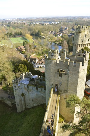 The historical medieval Warwick Castle in Warwickshire viewed from Guys Tower