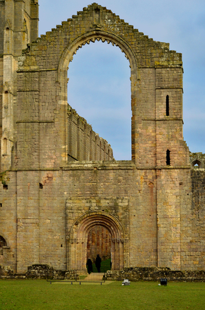 The historical 13th century Fountains Abby exterior view of the nave Stock Photo