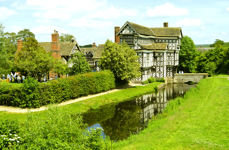 Congleton; Cheshire; England, United Kingdom - June 17 2017 : Little Moreton Hall a moated half-timbered manor house built in the 16th century