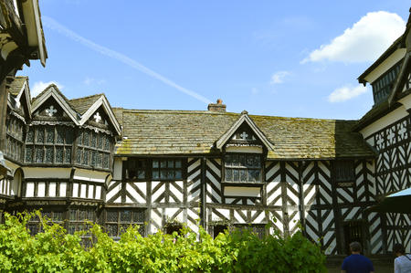 Detail of Little Moreton Hall half timbered manor house