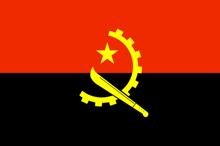 Republic of Angola in southern Africa national flag